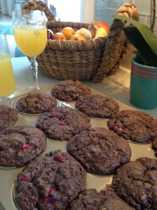 Chocolate Oatmeal Cranberry Muffins