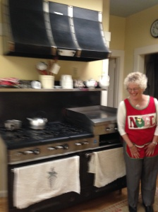 mom and stove